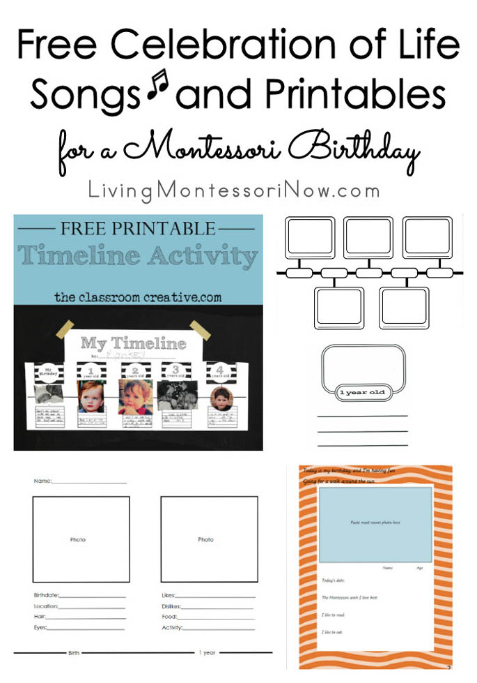 Free Celebration of Life Songs and Printables for a Montessori