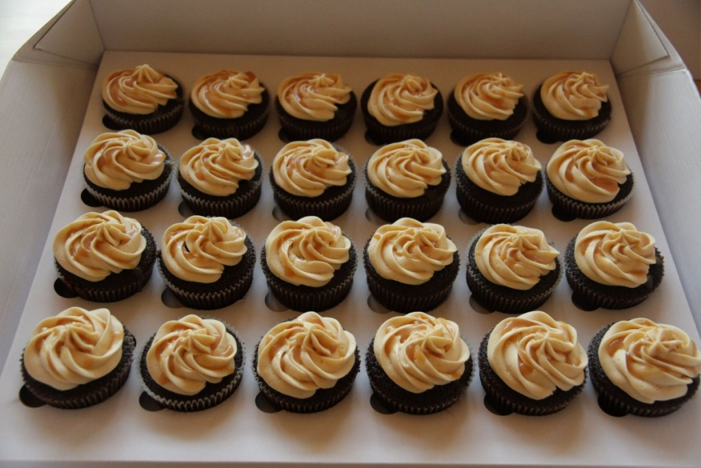 Dark Chocolate Espresso Cupcakes with Salted Caramel - Living on Cookies