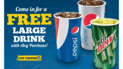 Long John Silver's offers free drink with purchase