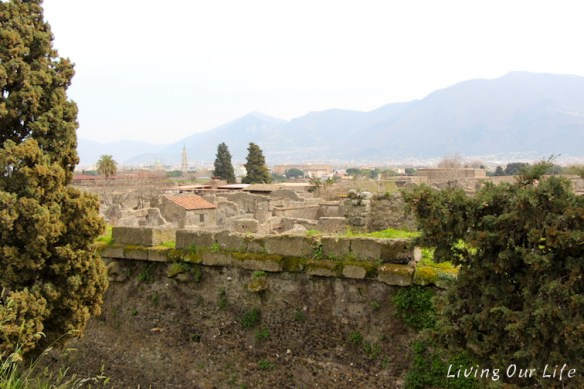 Looking out over the ruins of Pompeii
