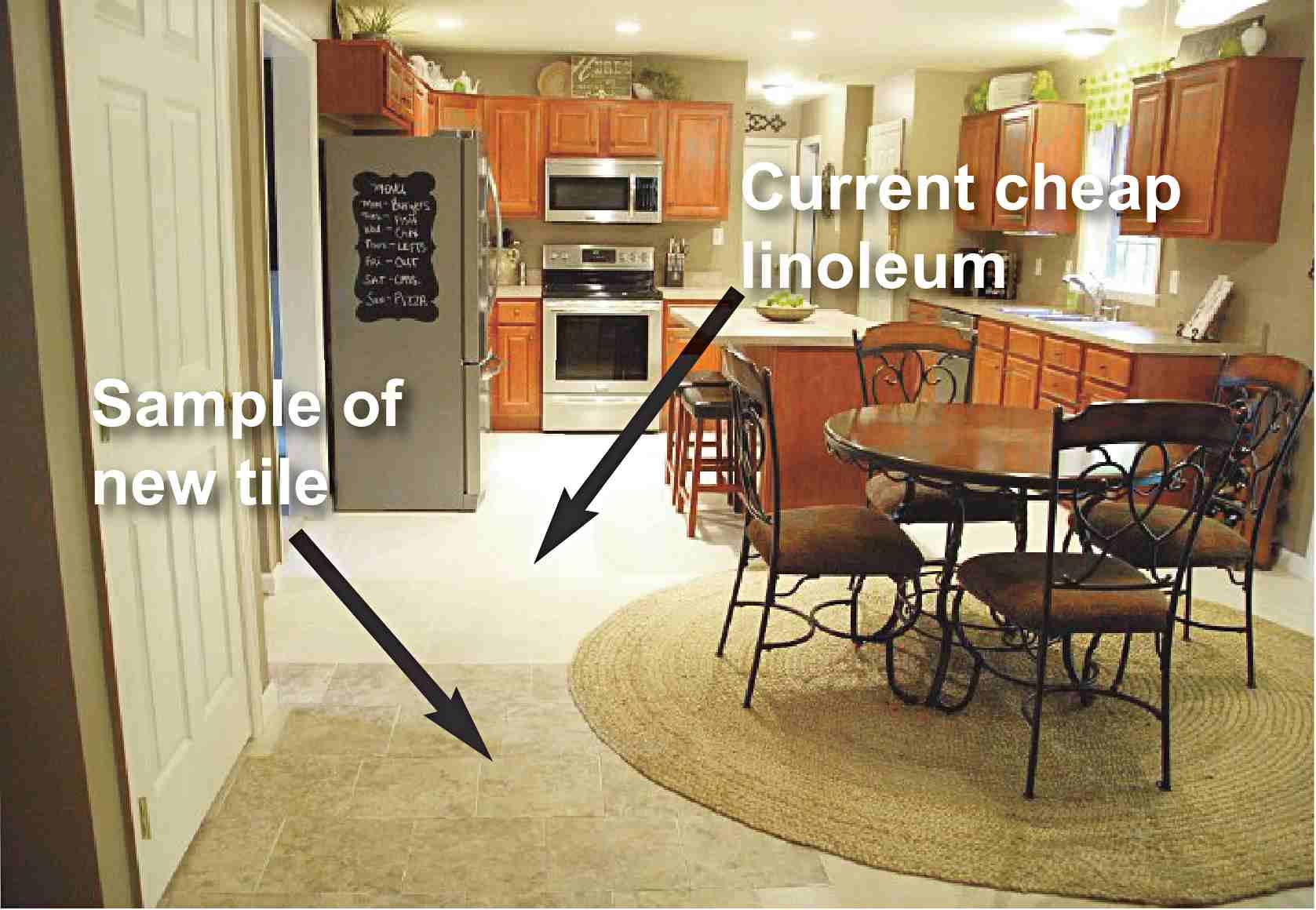 help us pick our kitchen floor linoleum kitchen flooring We can slap the flooring