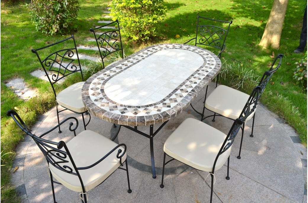 Table Ronde Salle A Manger Pas Cher 160-180cm Oval Outdoor Garden Stone Mosaic Marble Dining