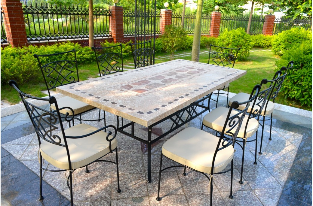 Table Pierre Jardin Outdoor Garden 160-200-240cm Mosaic Natural Stone Marble
