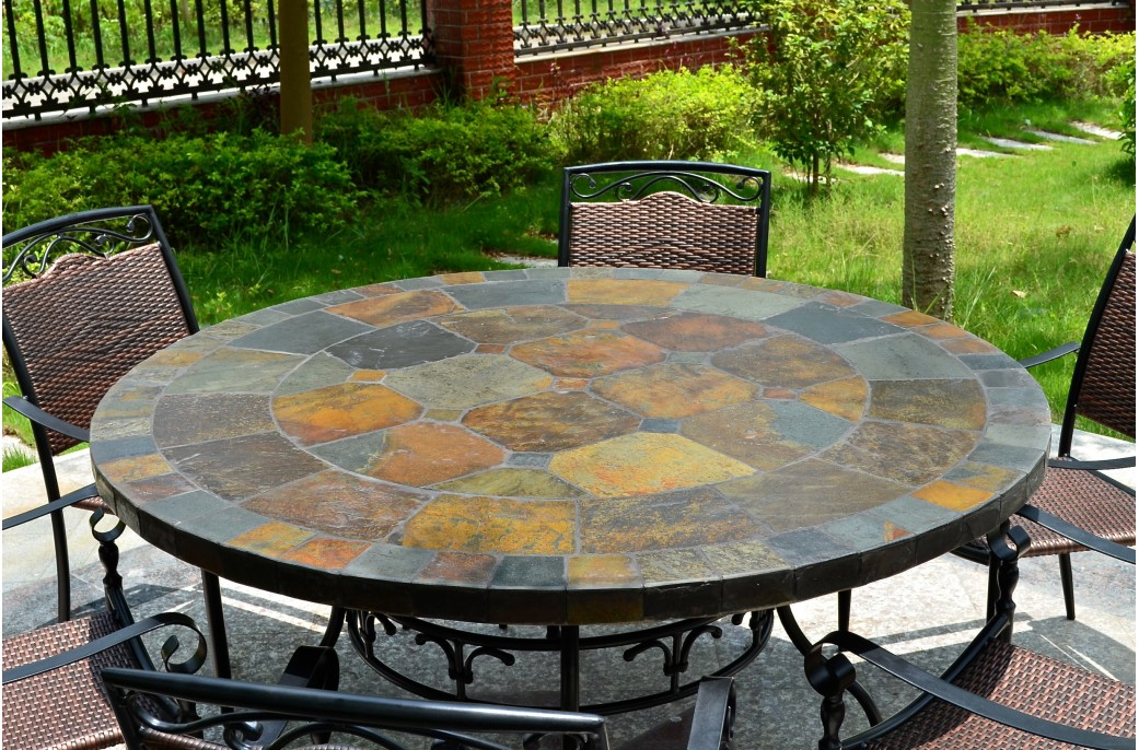 Salon De Jardin Plastique Carrefour 125-160cm Round Slate Patio Dining Table Tiled Mosaic - Oceane