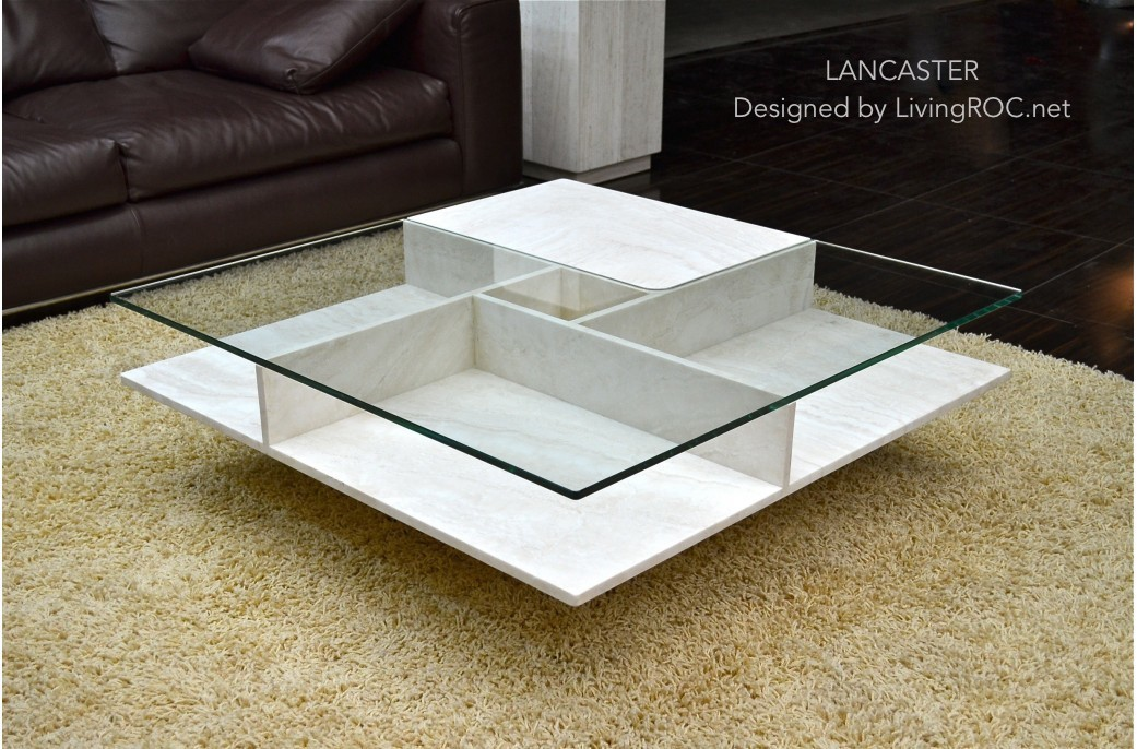 Granit Couchtisch 1000x1000 Square Travertine Coffee Table Tempered Glass