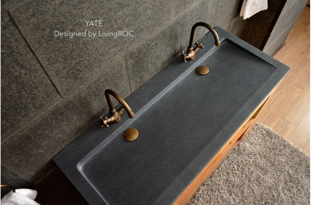 Meuble Double Vasque 120 1200mm Double Trough Grey Granite Stone Bathroom Basin - YatÉ