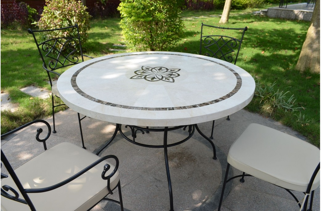 Table Pierre Jardin 125-160cm Outdoor Garden Round Mosaic Marble Stone Table