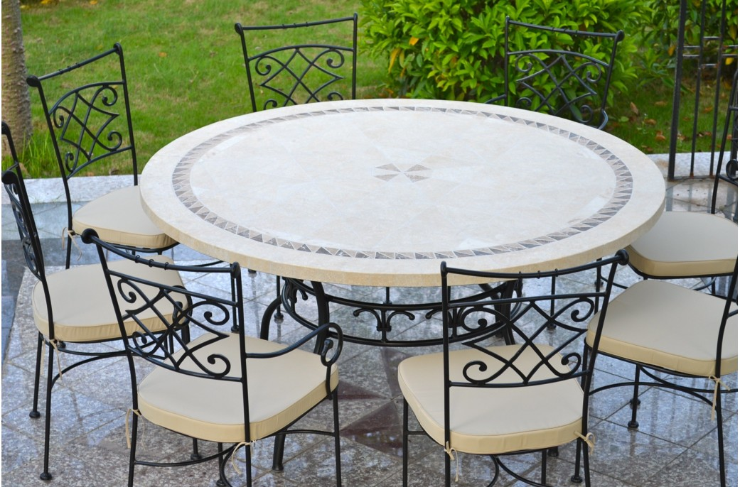Table De Jardin Mosaique Ronde Imhotep : Grande Table Ronde Diamètre 160 / 125cm Mosaïque