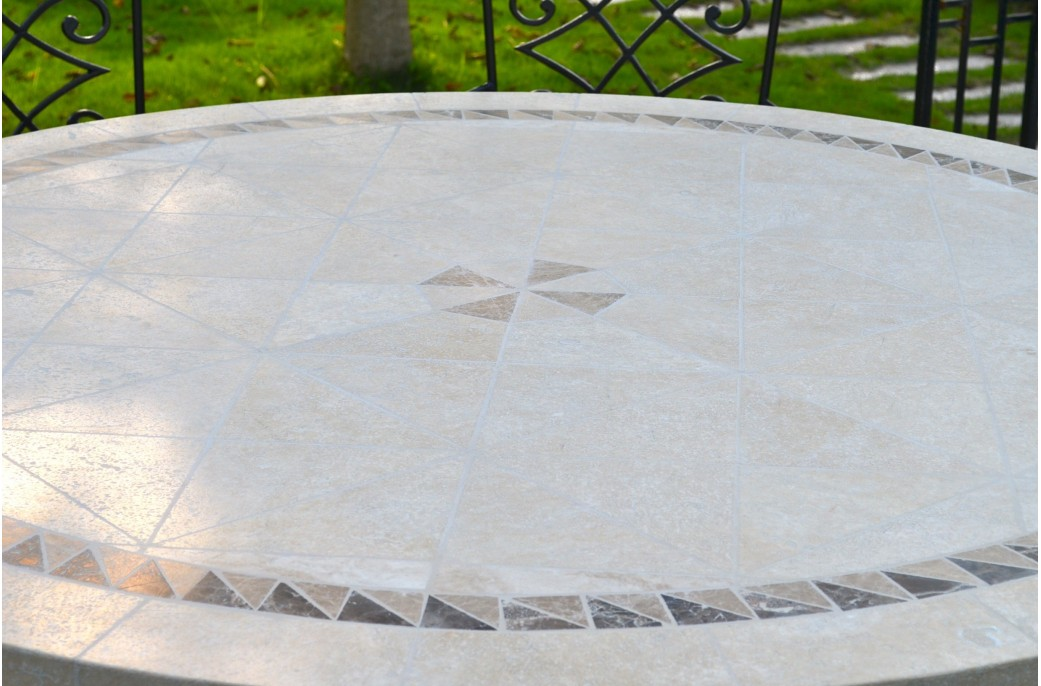 Salon De Jardin Table Ronde Imhotep : Grande Table Ronde Diamètre 160 / 125cm Mosaïque