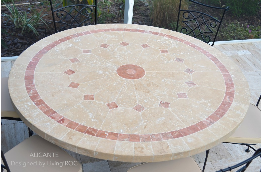 Table De Jardin Ronde Pas Cher Table De Jardin En Mosaique Marbre Travertin Alicante + 4