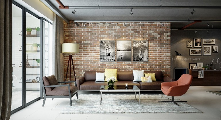 Industrial Living Rooms with Eccentric Brick Walls u2013 Living Room Ideas - industrial living room ideas