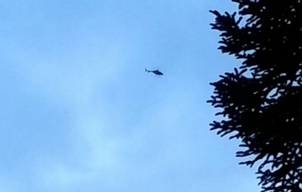 Helicopter over North Bend, 2/1/2013. Photo by Cindi Bowles