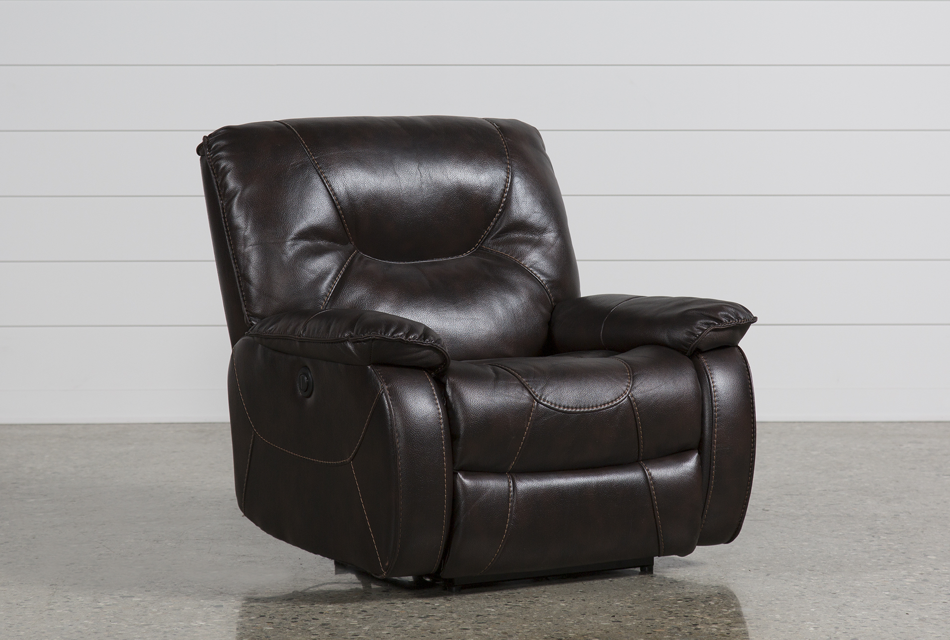 Electric Recliner Leather Chairs Tyson Nutmeg Power Recliner