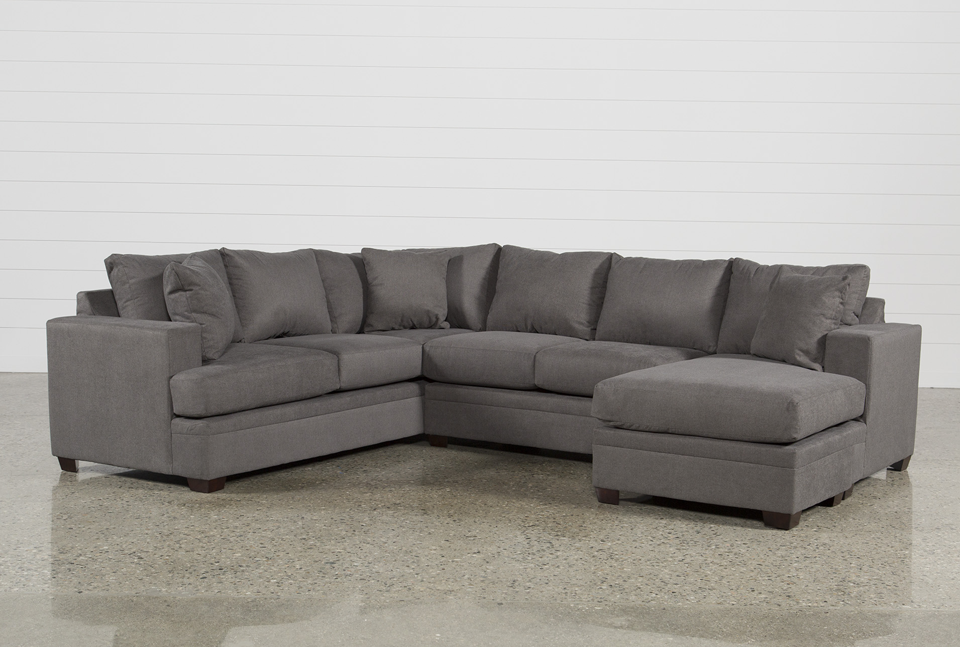 Grey Half Couch Kerri 2 Piece Sectional W Raf Chaise Living Spaces