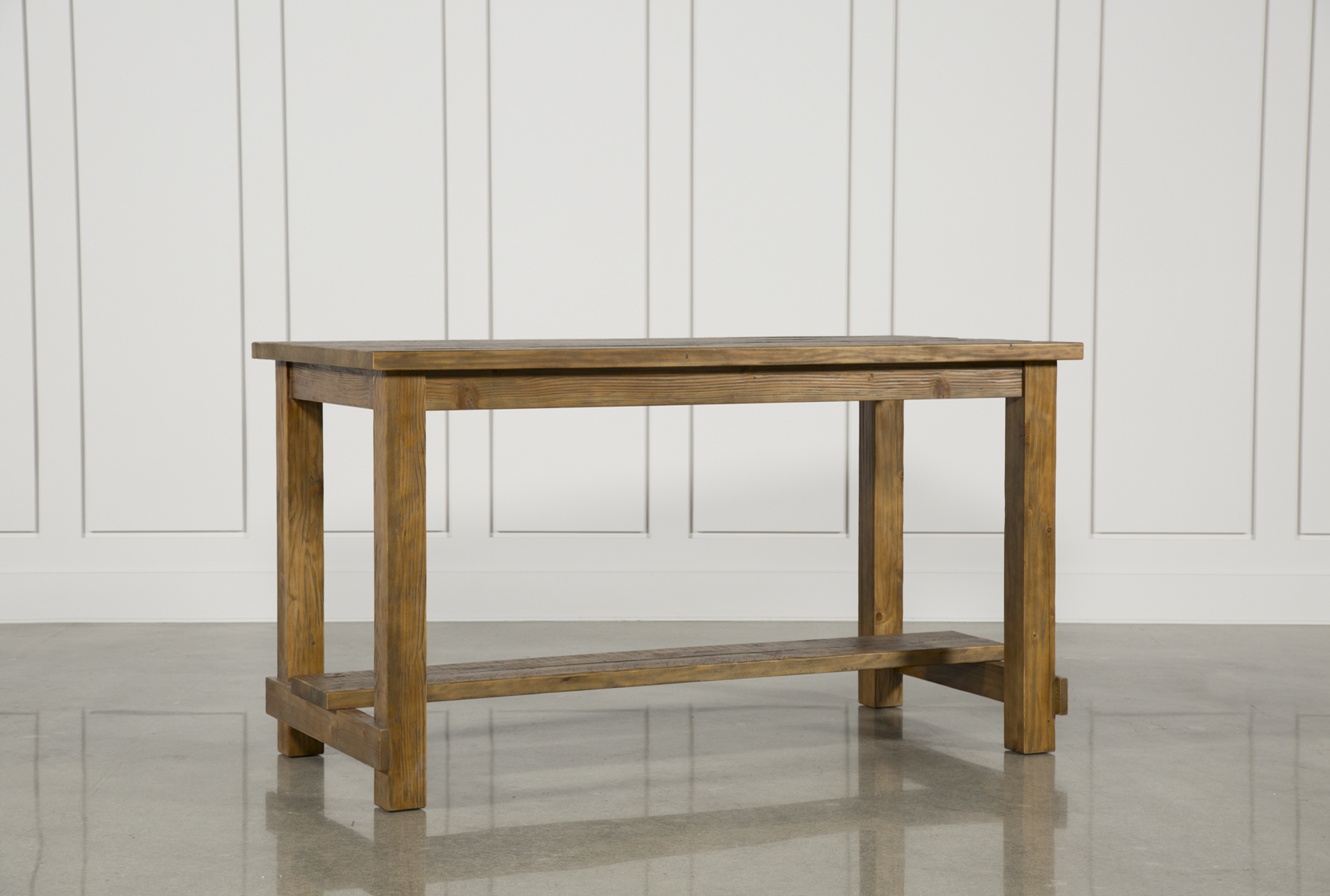 Long Wood Desk Natural Wood Pub Table