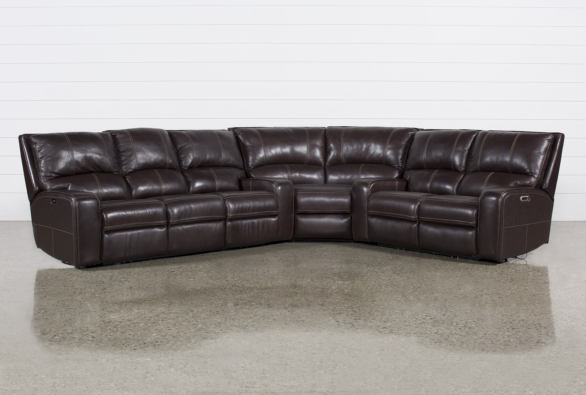 Sofa Relax Con Usb Clyde Dark Brown 3 Piece Power Reclining Sectional W Pwr Hdt Usb