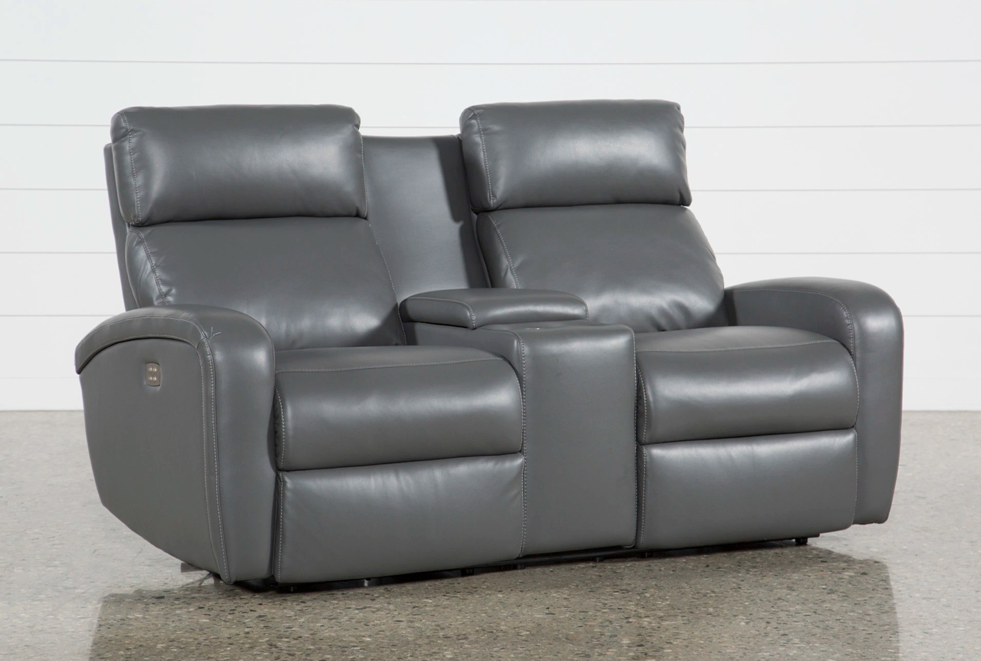 Chaise Darwin Darwin Graphite Power Reclining Loveseat W Console