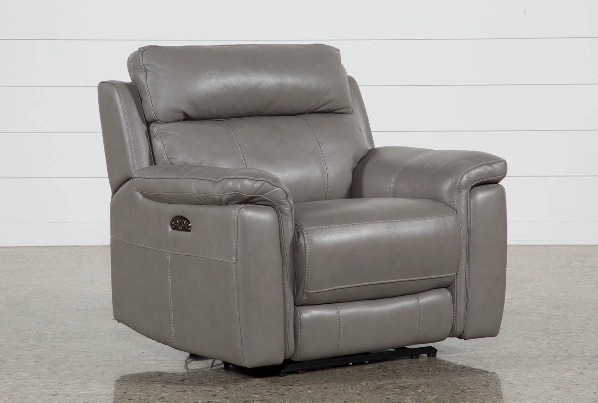 Electric Recliner Leather Chairs Dino Grey Leather Power Recliner W Power Headrest Usb