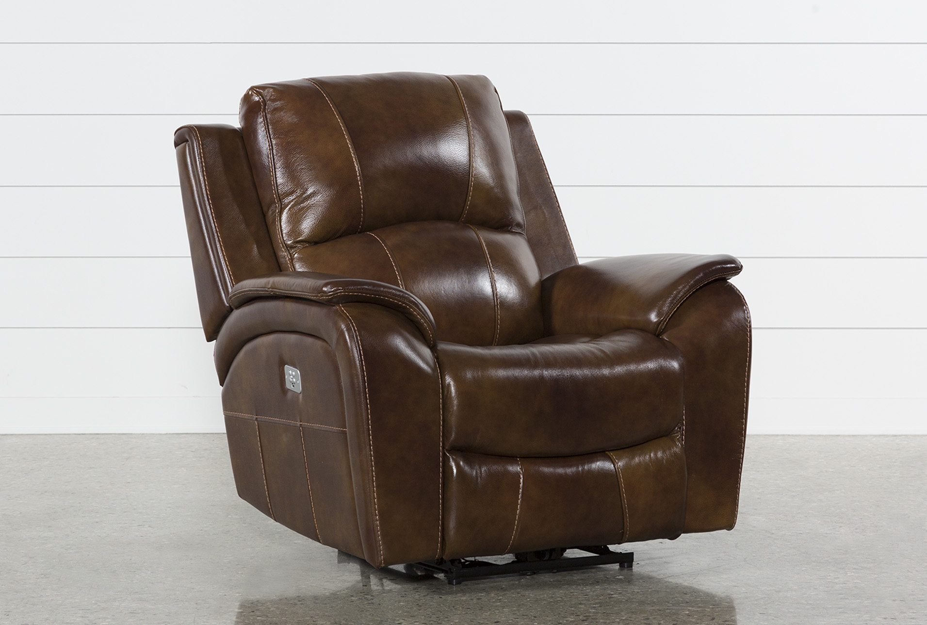 Electric Recliner Leather Chairs Travis Cognac Leather Power Recliner W Power Headrest And Usb