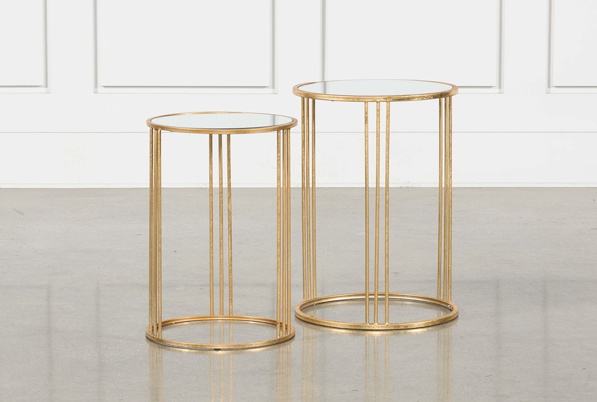 Gold Nesting Coffee Table 2 Piece Set Magri Gold Nesting Accent Tables