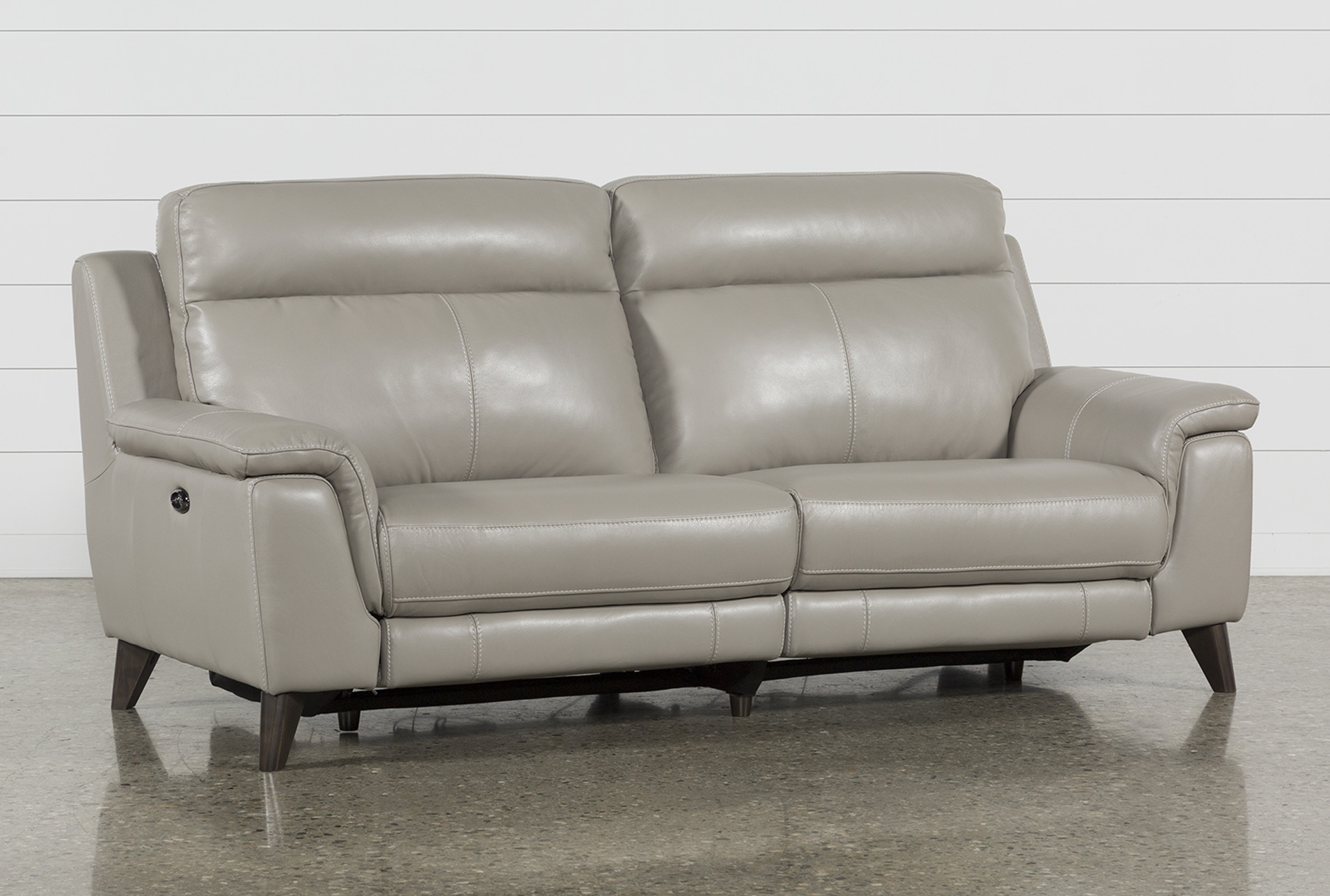 Sofa With Recliner Moana Taupe Leather Dual Power Reclining Sofa With Usb