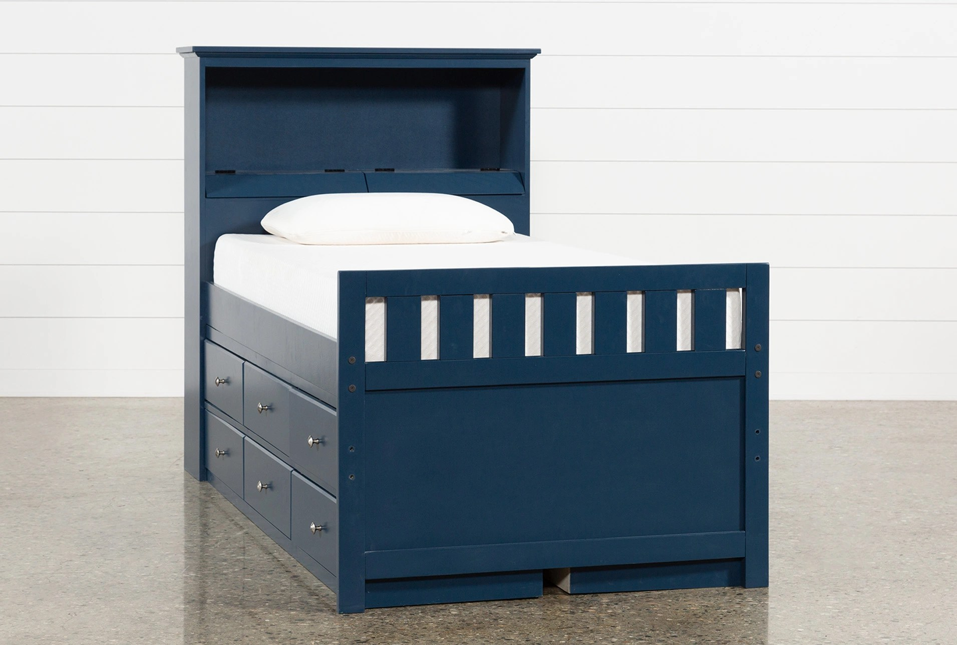 Bookcase Bed Taylor Navy Twin Bookcase Bed With Double 6 Drawer Storage And Usb
