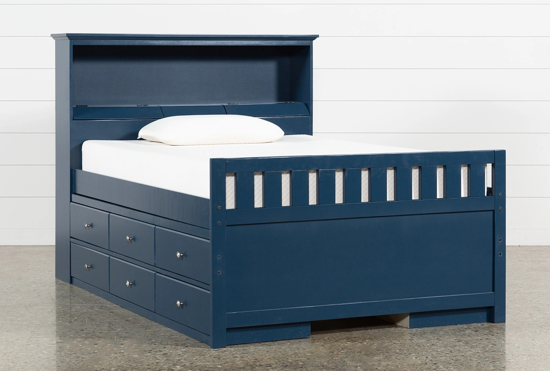 Full Double Bed Taylor Navy Full Bookcase Bed With Double 6 Drawer Storage