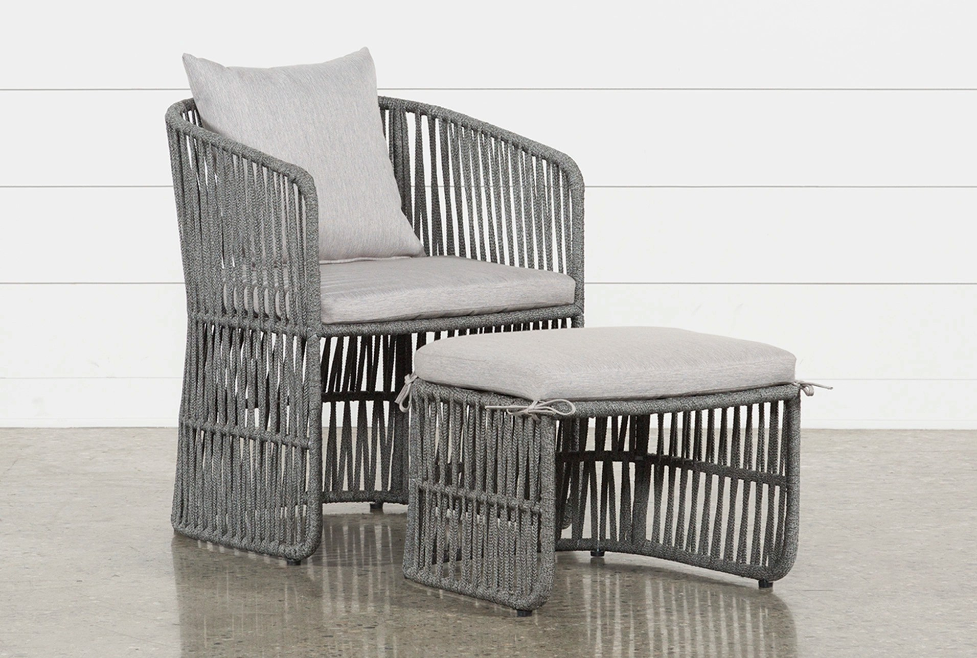 Lounge Chair Outdoor Nautical Grey Rope Lounge Chair And Ottoman