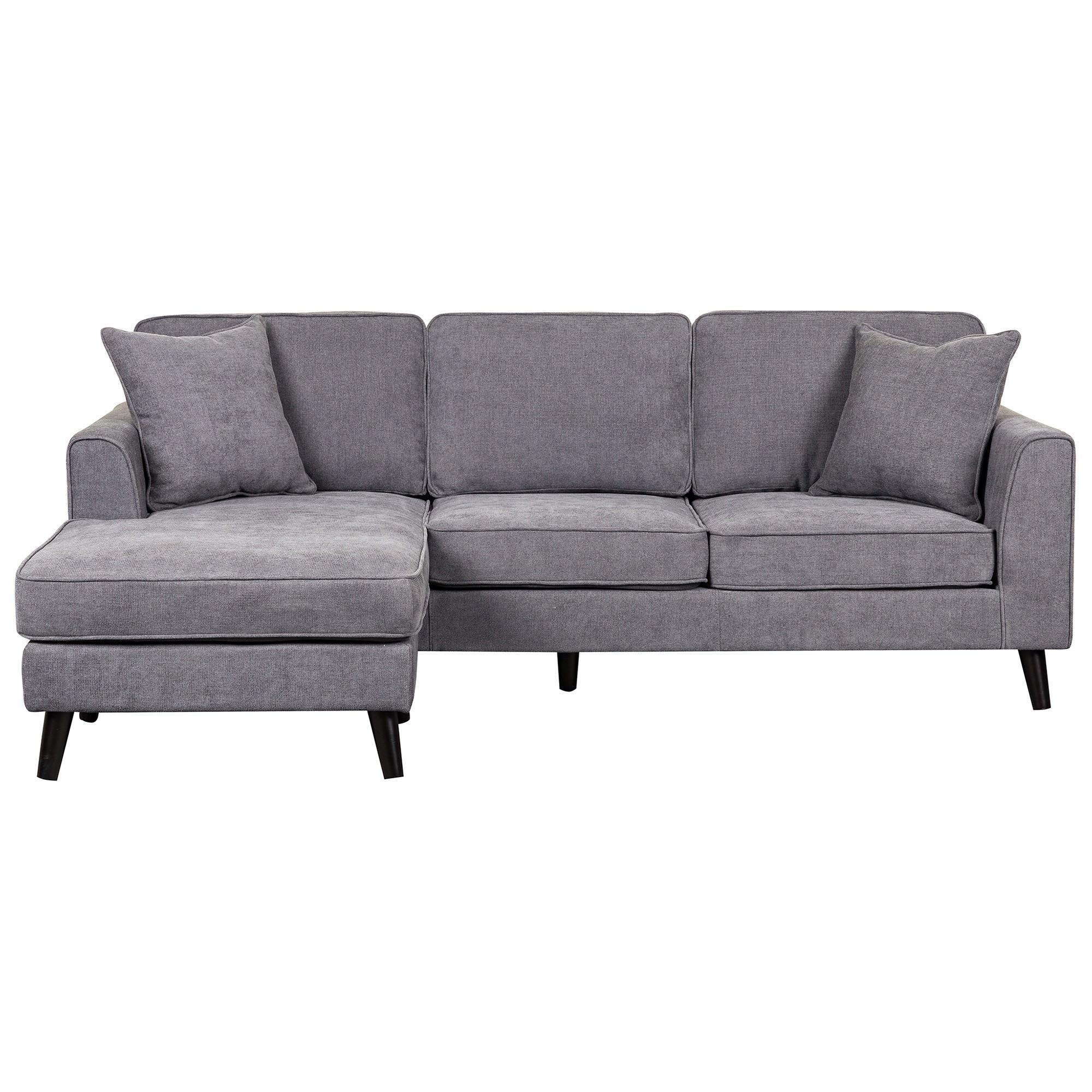 Monroe Fabric Corner Sofa 2 Seater With Reversible Chaise Dark Grey
