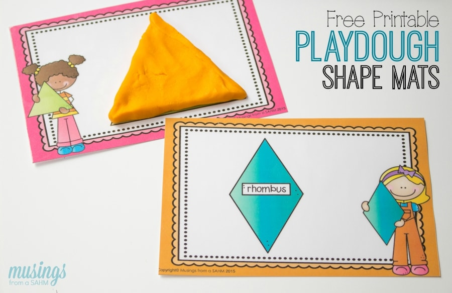Preschool Learning with Playdough Shape Mats - Living Well Mom