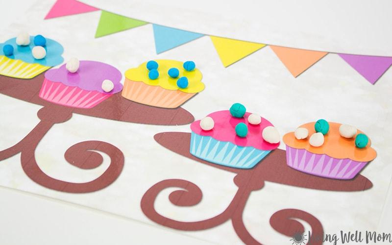 Cupcake Playdough Mats - Free Printable Activity for Kids