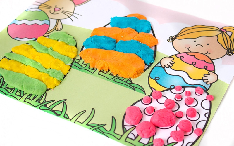 Easter Eggs Playdough Mats - Free Printable Activity for Kids