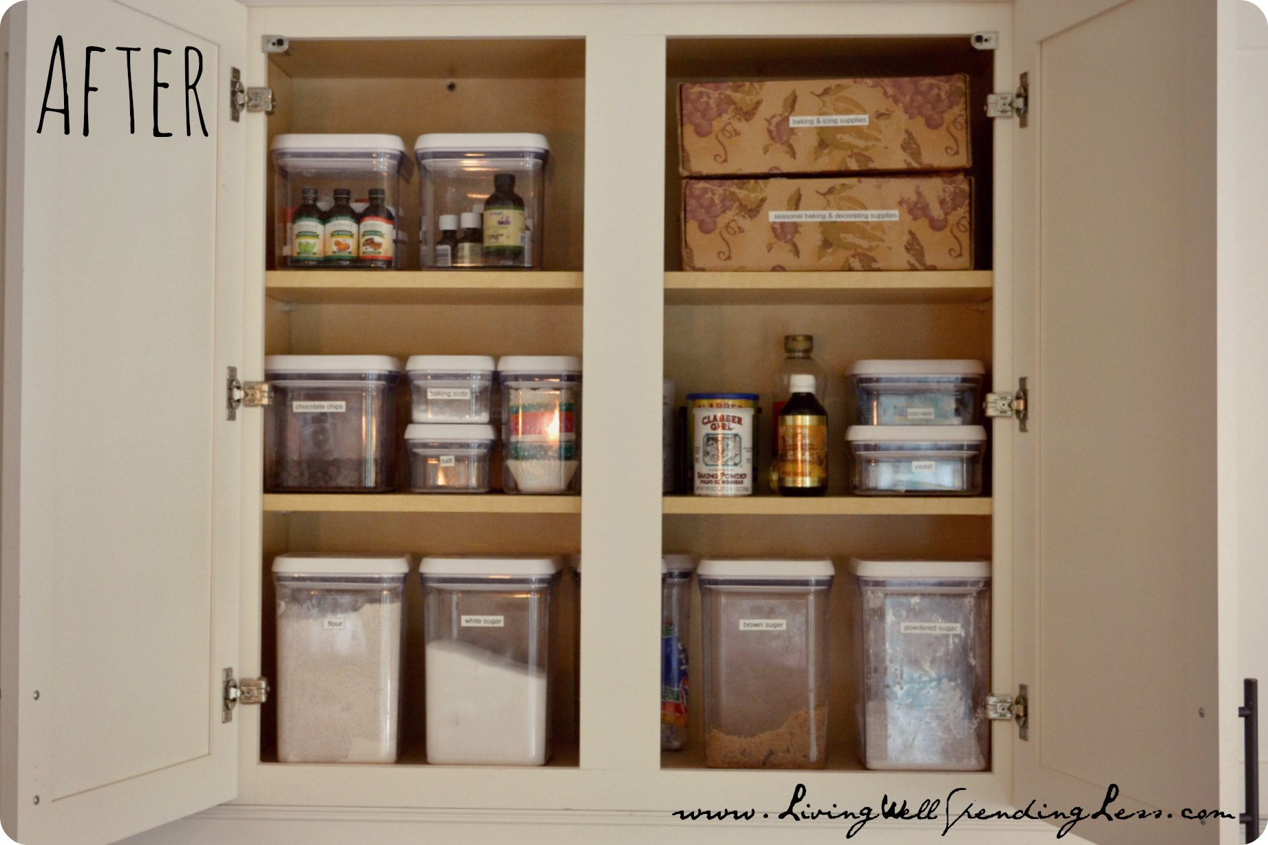 Organize Kitchen Cabinets Organized Baking Cabinet Living Well Spending Less
