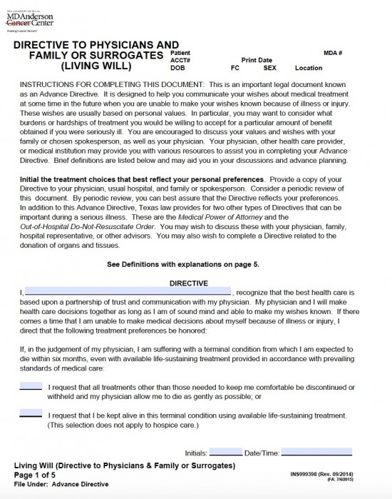 Texas Living Will Form (Directive to Physicians and Family or
