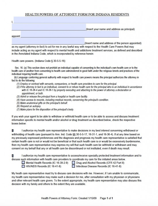Indiana Durable Medical Power of Attorney Form - Living Will Forms