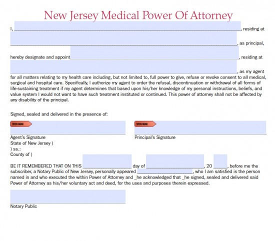 New Jersey Durable Medical Power of Attorney Form - Living Will - Medical Power Of Attorney Form