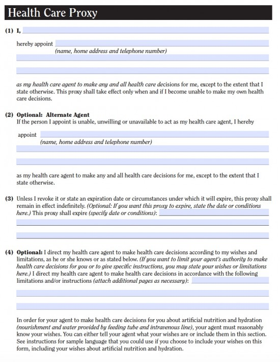 New York Medical Power of Attorney Form Health Care Proxy - Living - medical proxy form