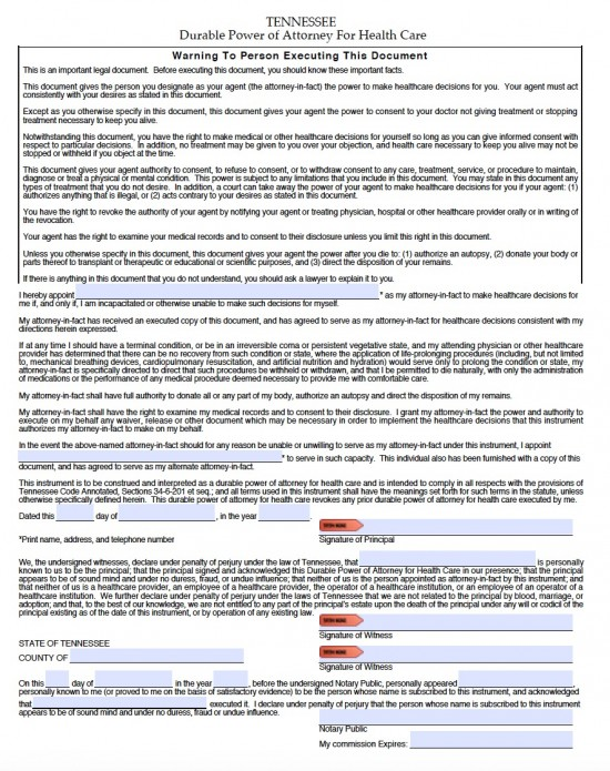 Tennessee Medical Power of Attorney Form - Living Will Forms