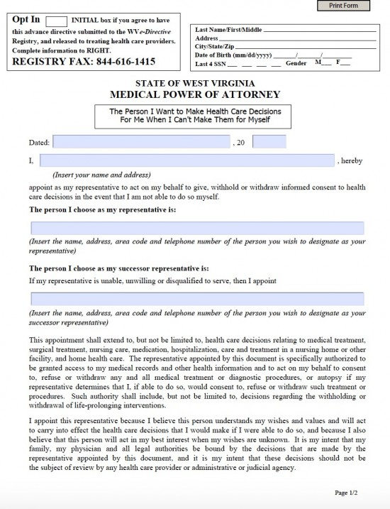West Virginia Medical Power of Attorney Form - Living Will Forms - Medical Power Of Attorney Form