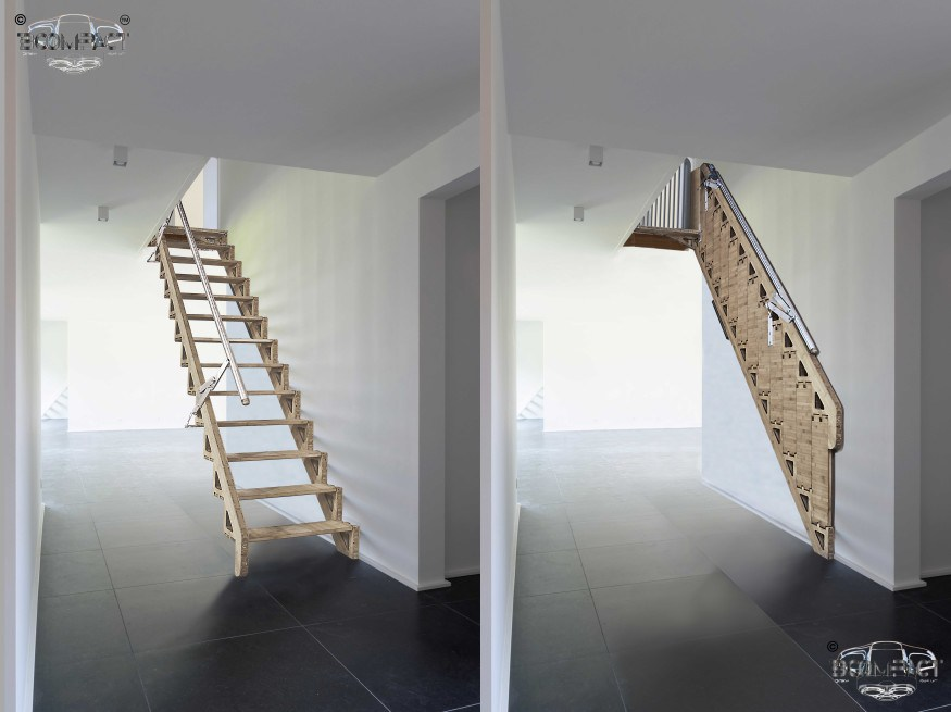 Hybrid Stairs By Bcompact Are An Innovative Fold Away Solution For Stairs In Small Spaces
