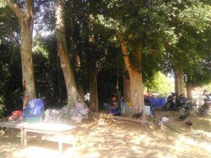 Bagian belakang warung yang terdapat pepohonan  yang rimbun. Tempat ini juga dimanfaatkan pemilik warung tersebut sebagai tempat duduk pembeli. Tidak peduli kalau sebenarnya tempat tersebut adalah kompleks pemakaman