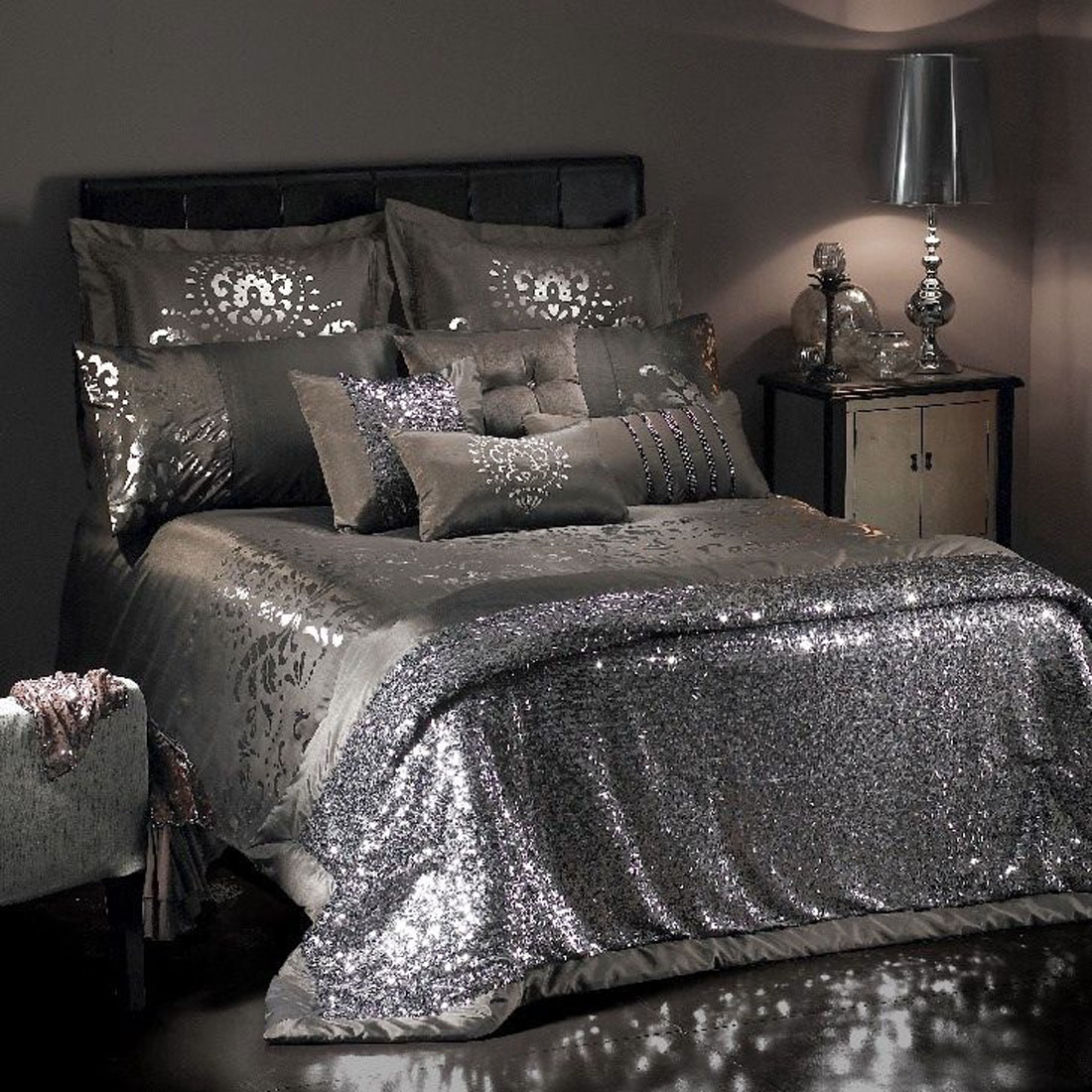 Black And Silver Bed Duvet Covers 3