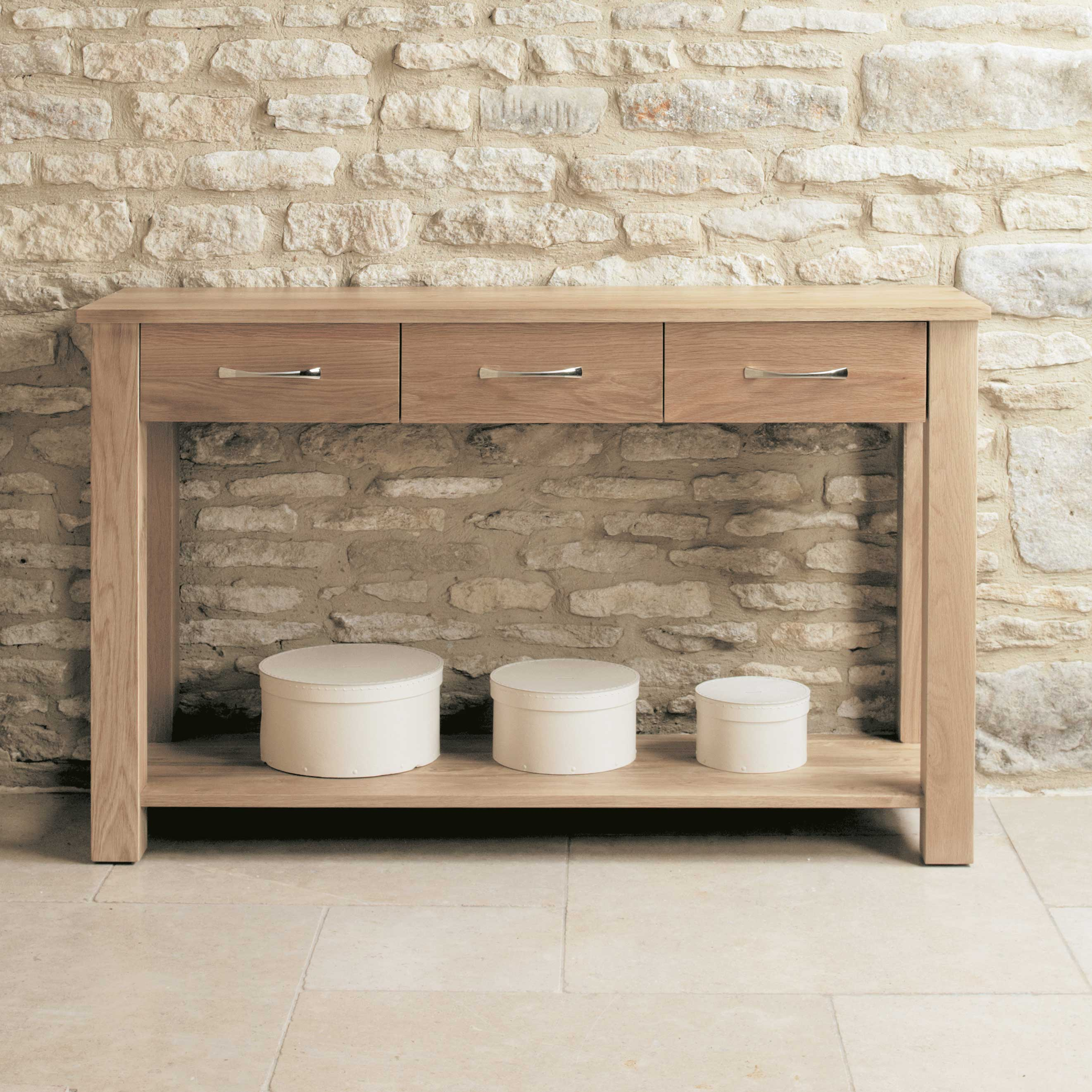 Cor Möbel Baumhaus Mobel Contemporary Oak Console Table 3 Drawers