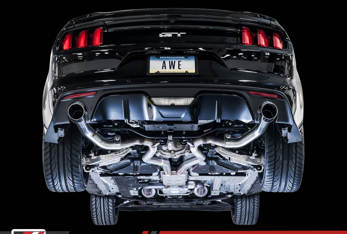 2015 Mustang Gt Pictures Awe Tuning 3020 33030 Ford Mustang Gt 5 0l Cat Back Exhaust Track Edition Diamond Black Tips 2015 2017