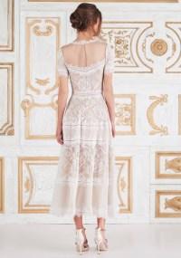 Casual Tea- Length Lace Wedding Dress | LMR Weddings