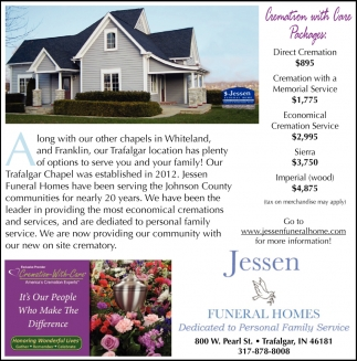Trafalgar Homes Cremation With Care Jessen Funeral Homes Trafalgar In