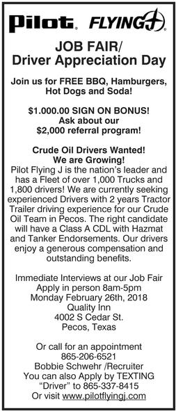 Job Fair, Pilot Flying J, Pecos, TX - what to ask at a job fair