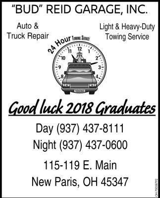 Garage Auto Paris Good Luck 2018 Graduates Bud Reid Garage Inc