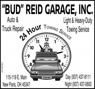 Garage Auto Paris 24 Hour Towning Service Bud Reid Garage Inc New Paris Oh