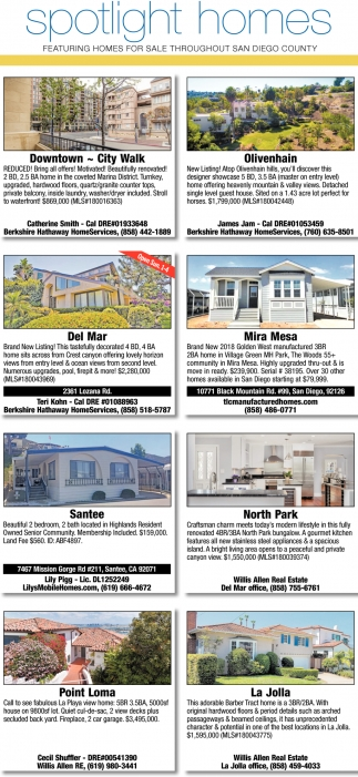 Hom In Sessel Featuring Homes For Sale Throughout San Diego County Spotlight